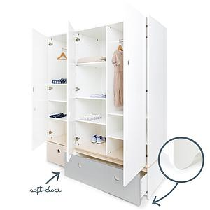 Armoire 3 portes COLORFLEX Abitare Kids façades tiroirs white wash-pearl grey