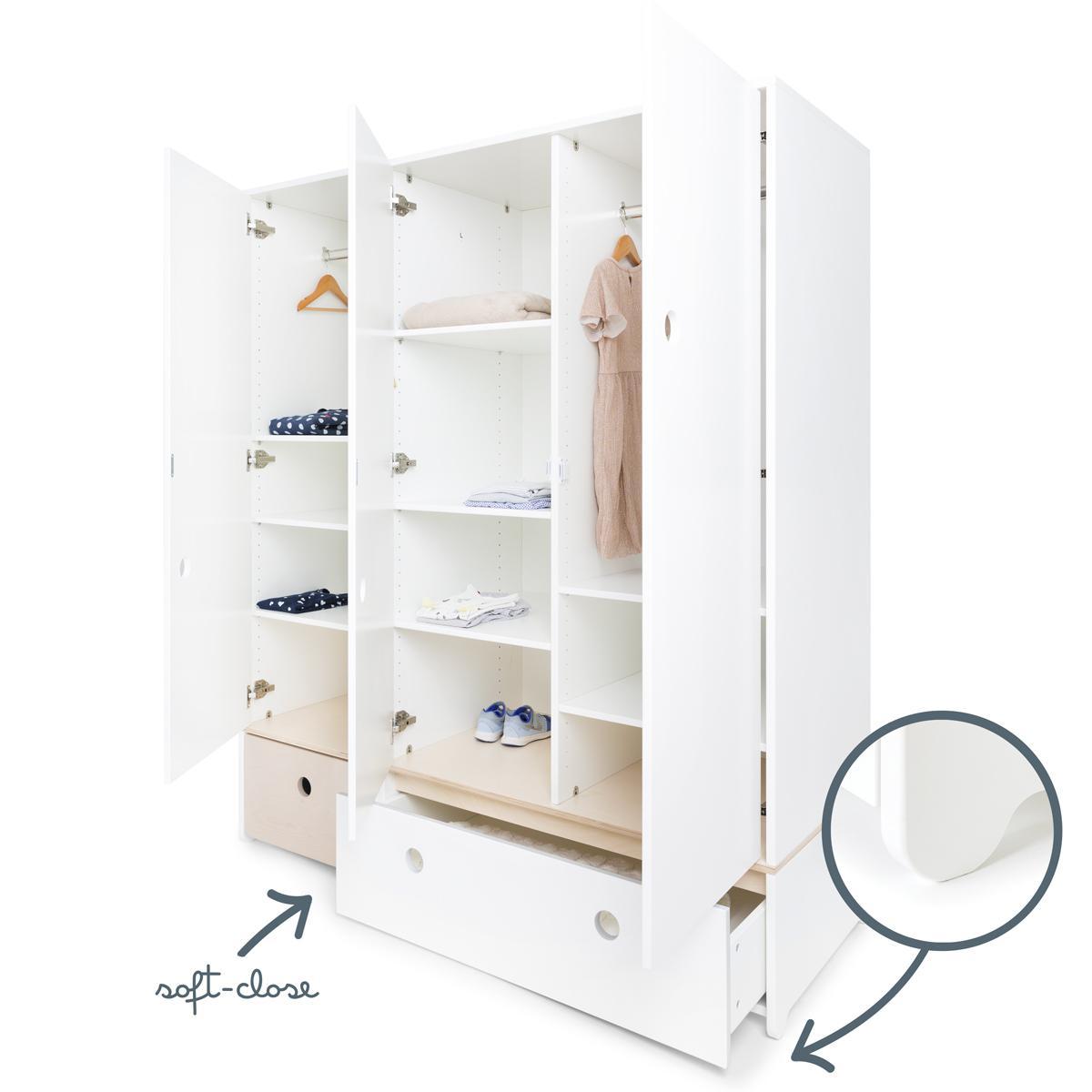 Armoire 3 portes COLORFLEX Abitare Kids façades tiroirs white wash-white