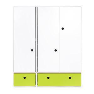 Armoire 3 portes COLORFLEX façades tiroirs lime