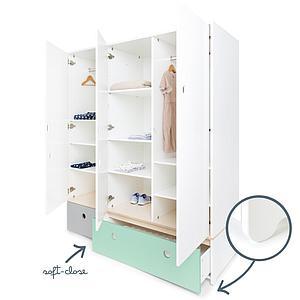 Armoire 3 portes COLORFLEX façades tiroirs pearl grey-mint