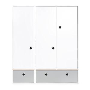Armoire 3 portes COLORFLEX façades tiroirs pearl grey