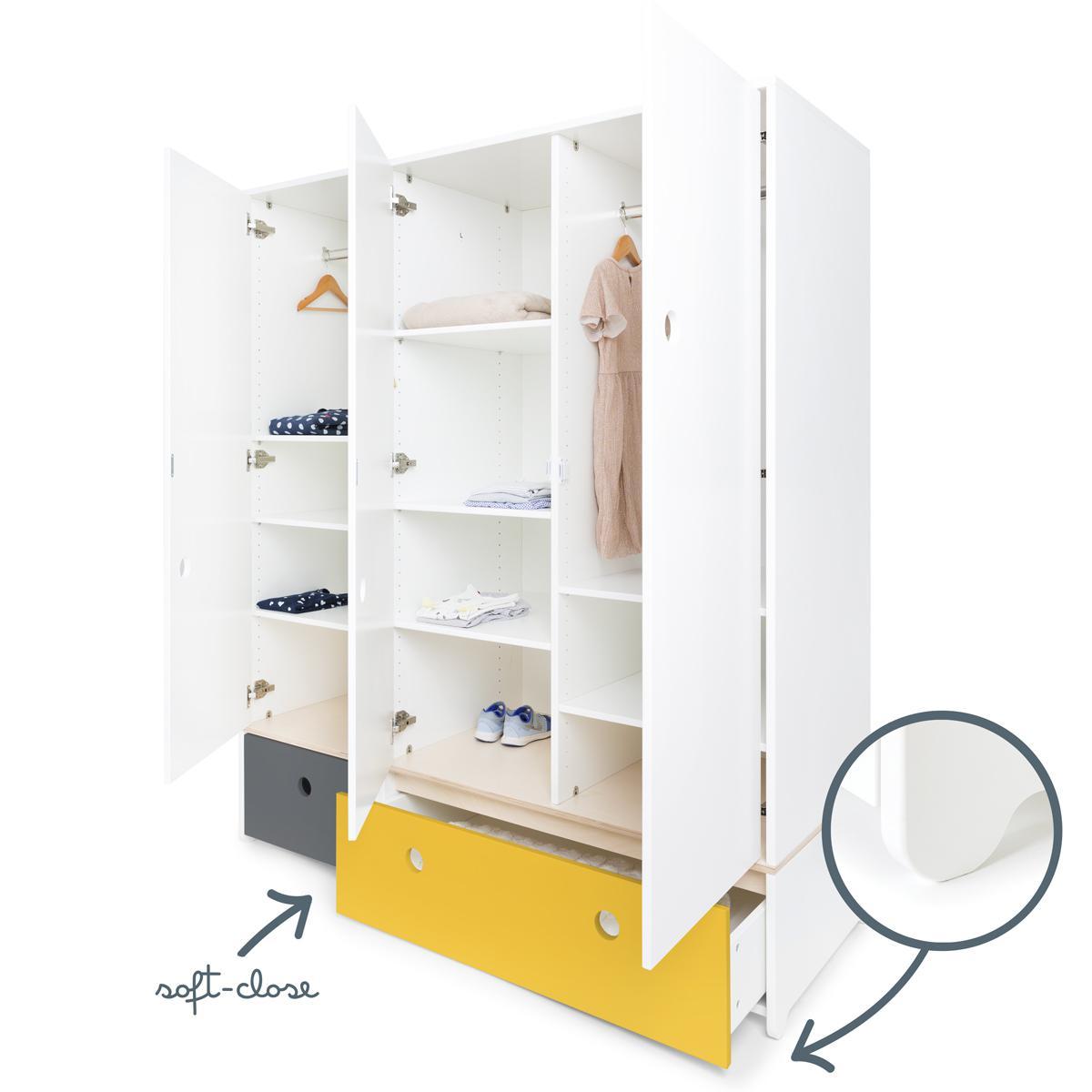 Armoire 3 portes COLORFLEX façades tiroirs space grey-nectar yellow