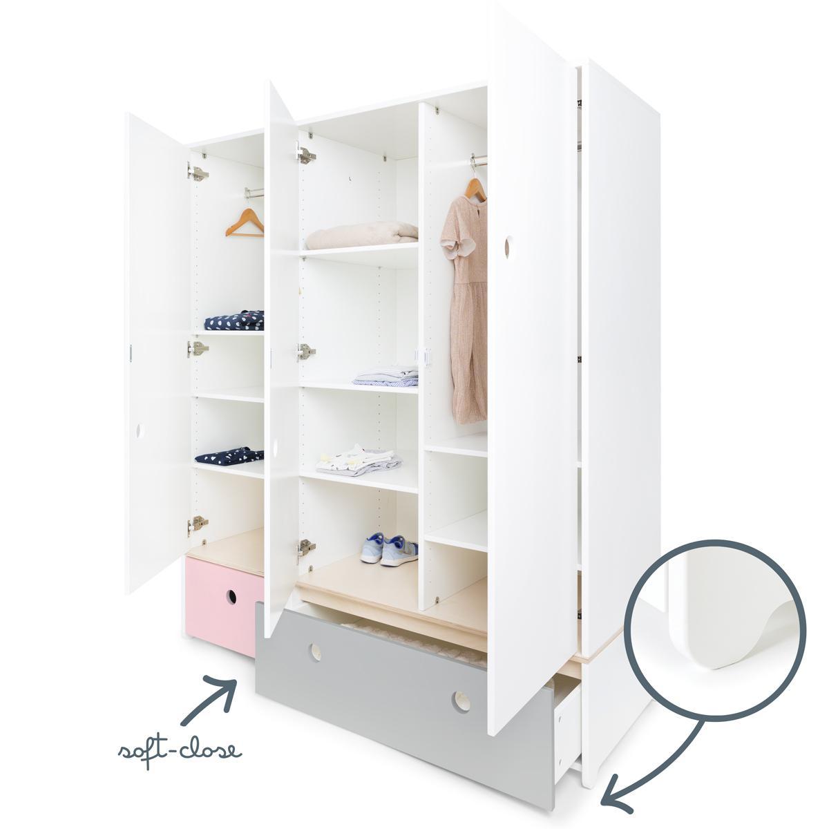 Armoire 3 portes COLORFLEX façades tiroirs sweet pink-pearl grey