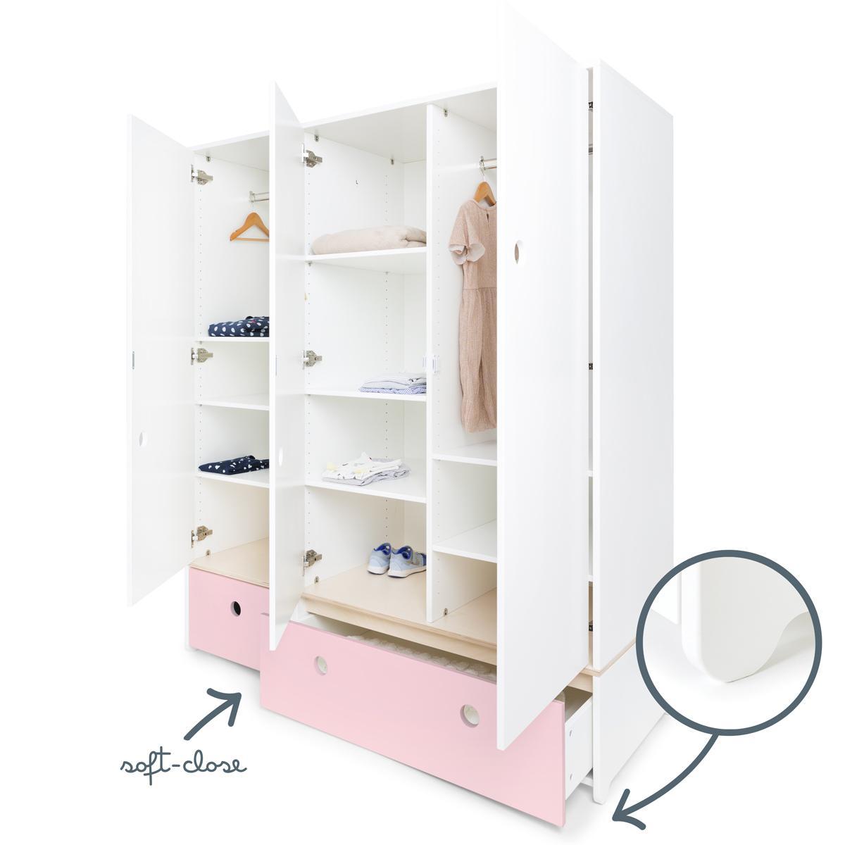 Armoire 3 portes COLORFLEX façades tiroirs sweet pink