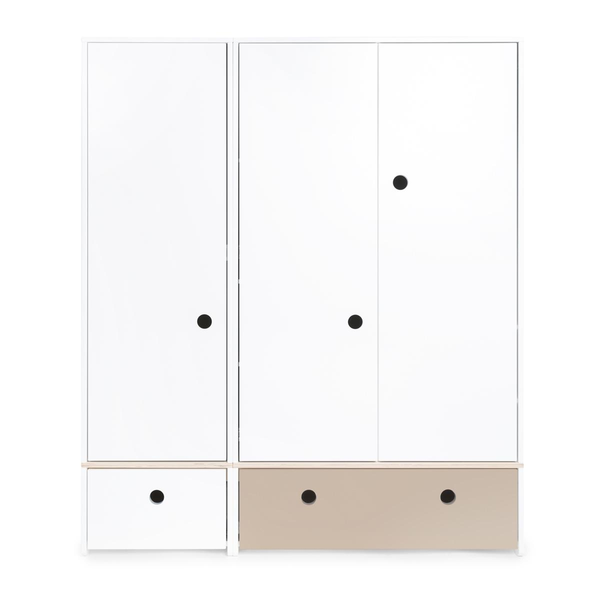 Armoire 3 portes COLORFLEX façades tiroirs white-warm grey