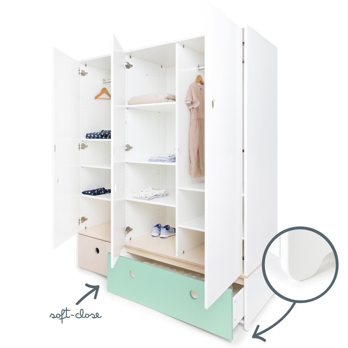Armoire 3 portes COLORFLEX façades tiroirs white wash-mint