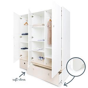 Armoire 3 portes COLORFLEX façades tiroirs white wash