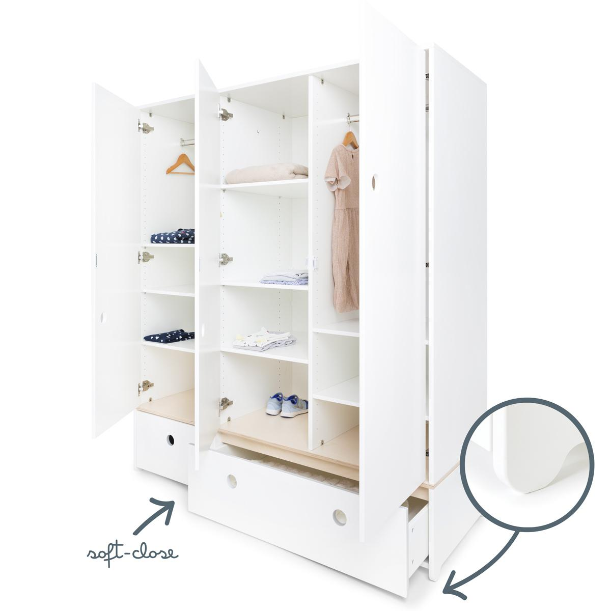 Armoire 3 portes COLORFLEX façades tiroirs white