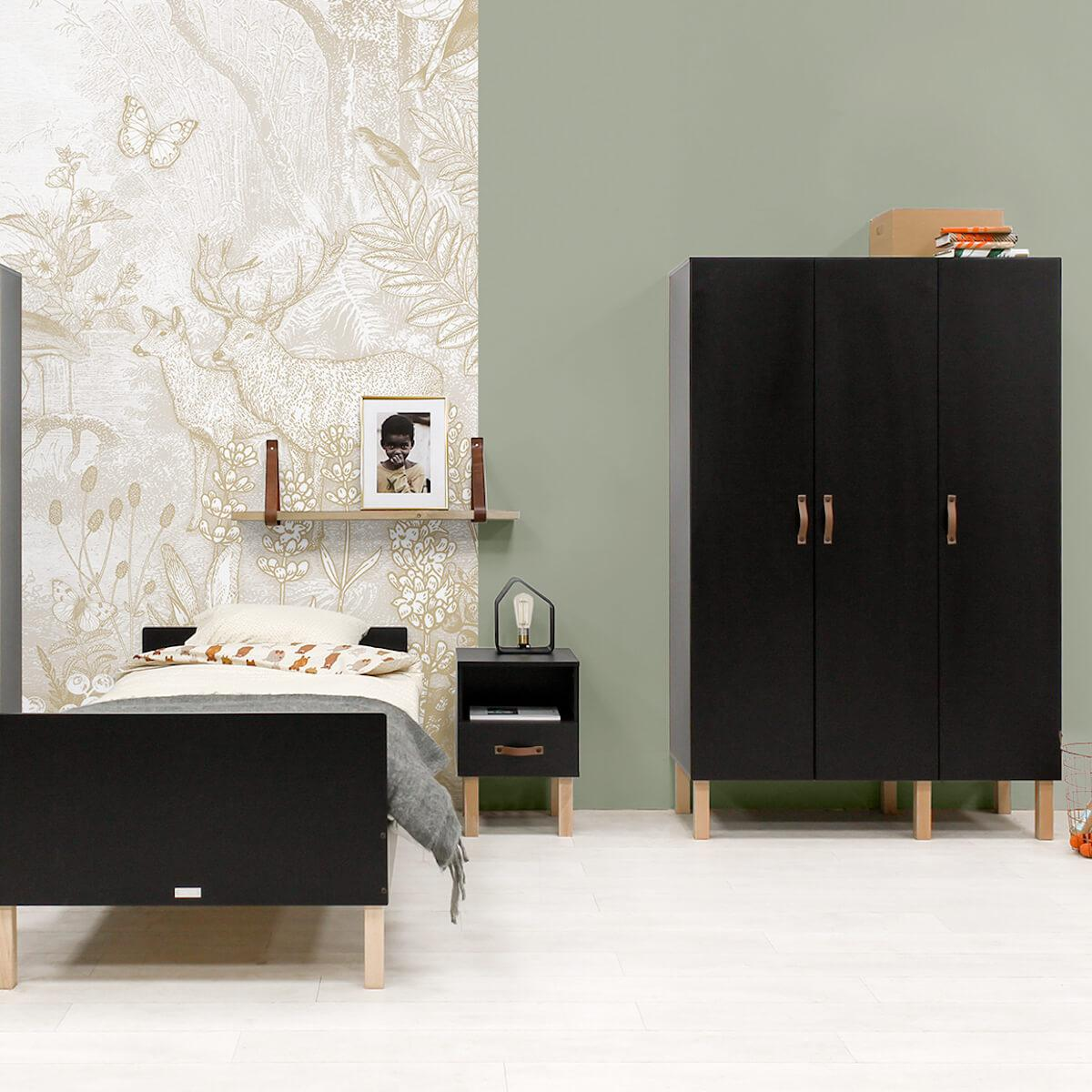 Armoire 3 portes FLORIS Bopita Noir Mat-Naturel