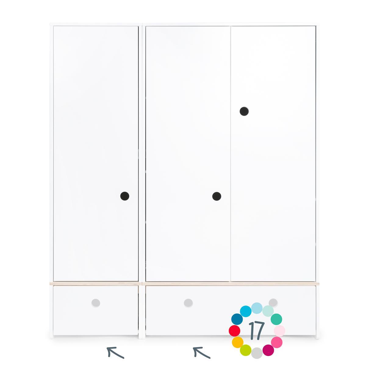 Armoire 3 portes hors façades tiroirs COLORFLEX