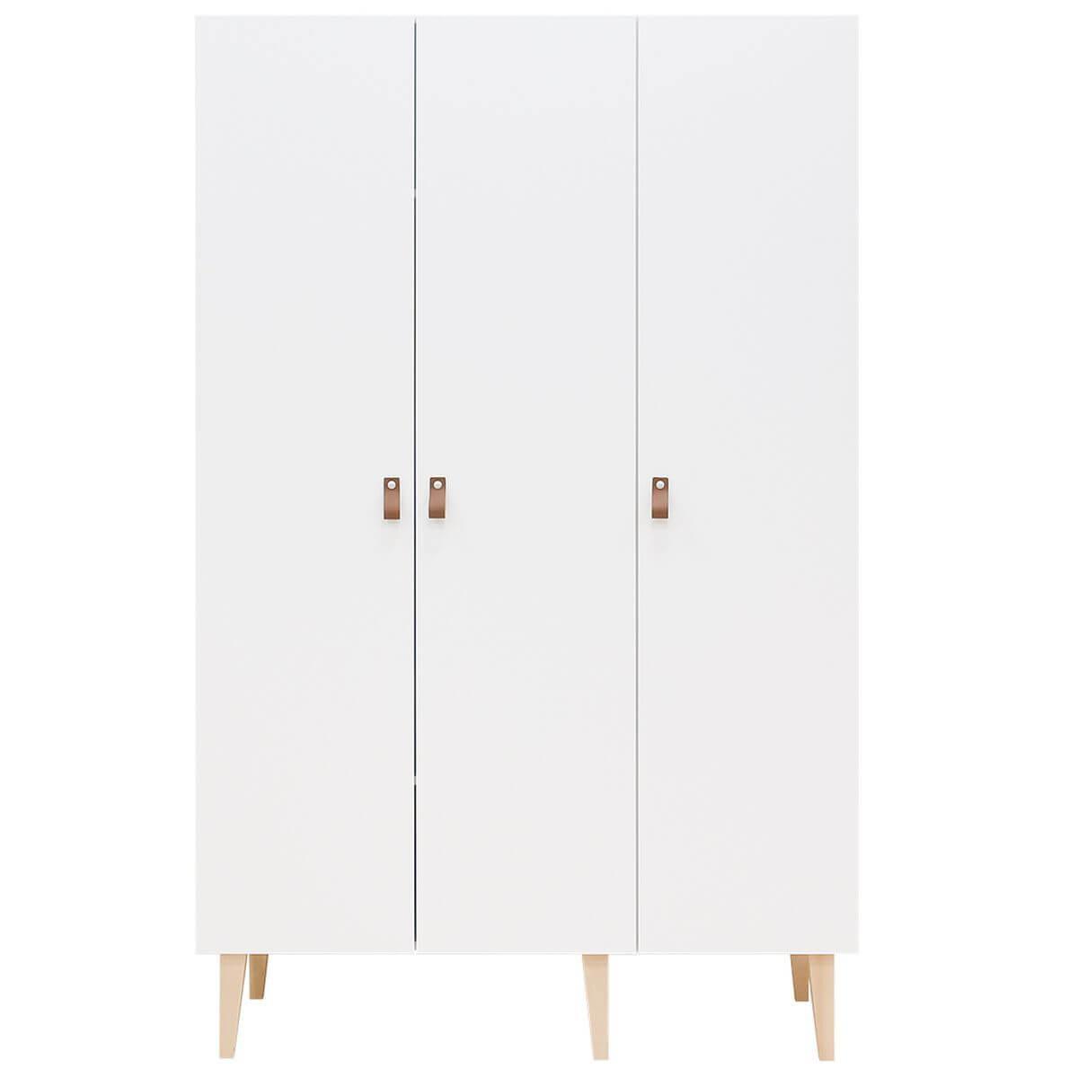 Armoire 3 portes INDY Bopita blanc-naturel