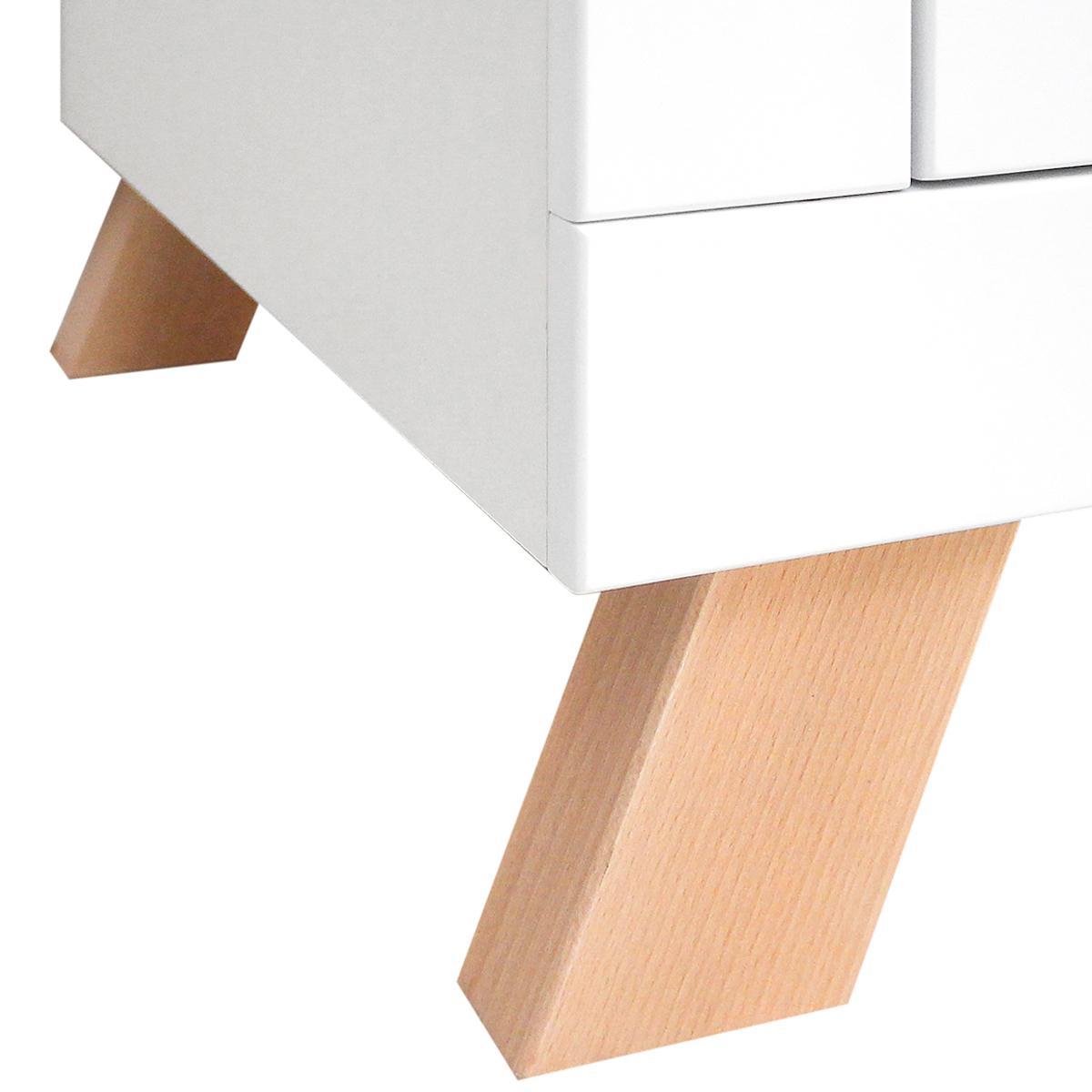 Armoire 3 portes LISA Bopita blanc-naturel