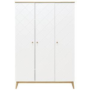 Armoire 3 portes PARIS Bopita Blanc-chêne