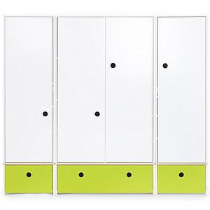 Armoire 4 portes COLORFLEX Abitare Kids façades tiroirs lime
