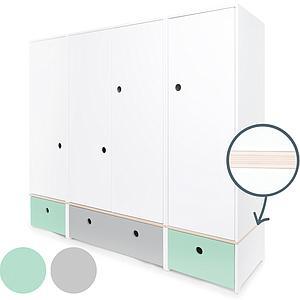 Armoire 4 portes COLORFLEX Abitare Kids façades tiroirs mint-pearl grey-mint