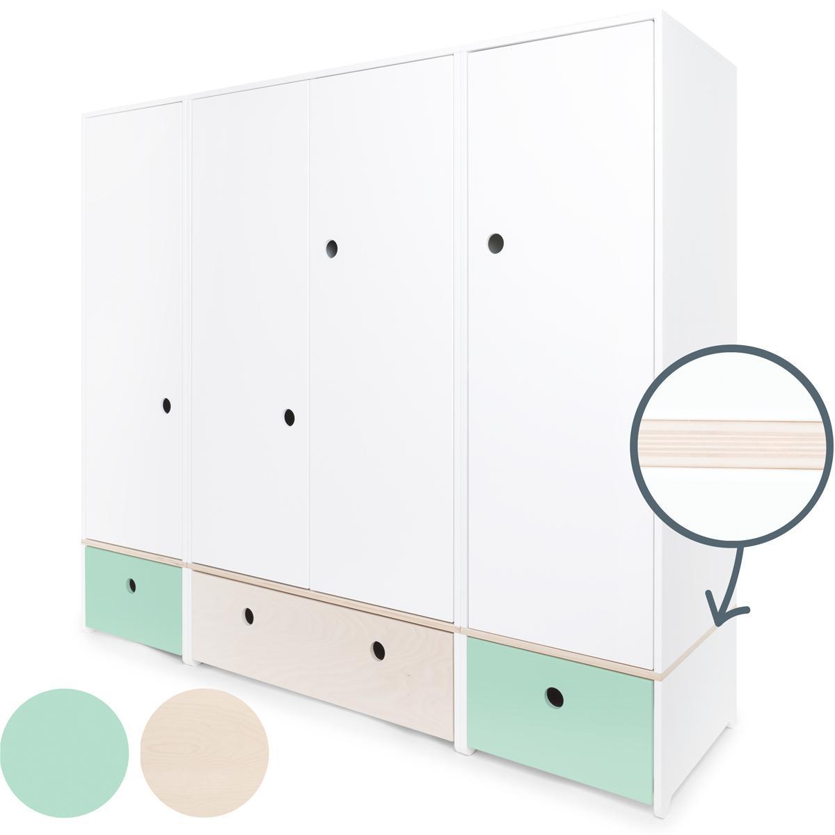 Armoire 4 portes COLORFLEX Abitare Kids façades tiroirs mint-white wash-mint