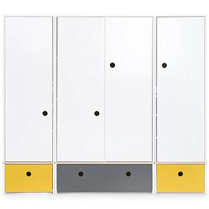 Armoire 4 portes COLORFLEX Abitare Kids façades tiroirs nectar yellow-space grey-nectar yellow