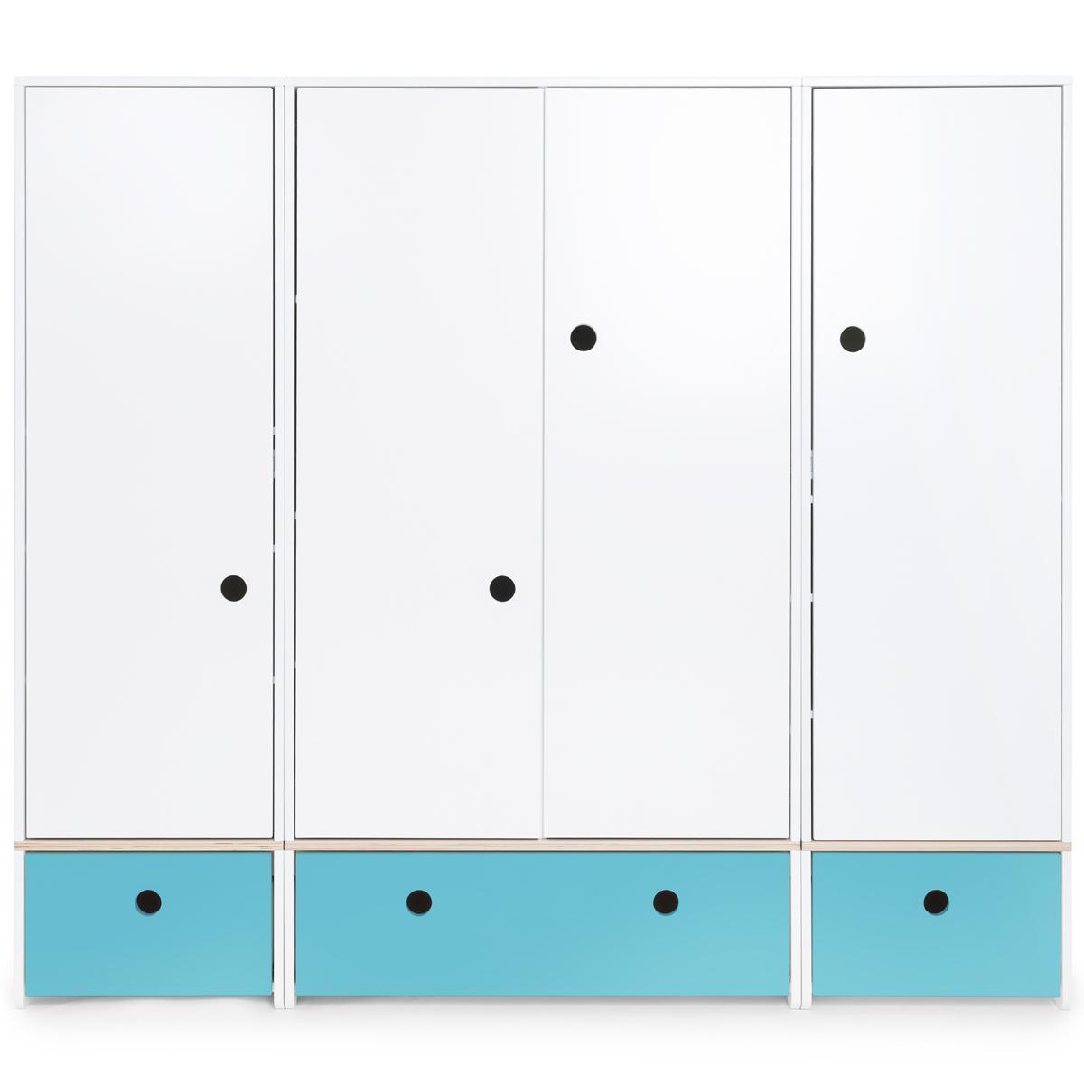 Armoire 4 portes COLORFLEX Abitare Kids façades tiroirs paradise blue