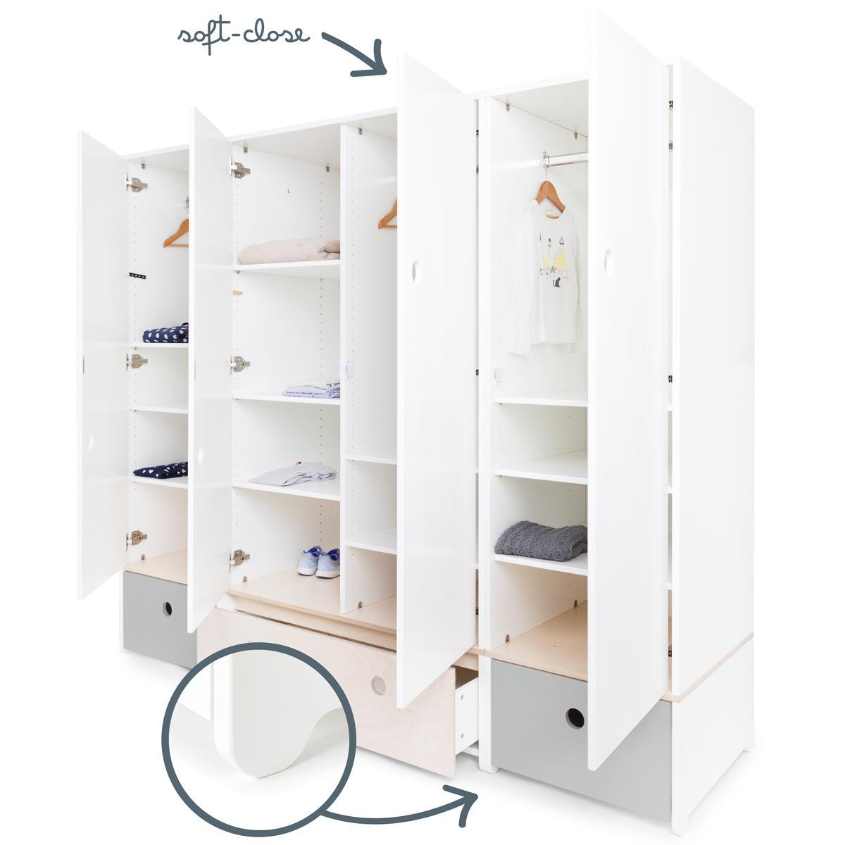 Armoire 4 portes COLORFLEX Abitare Kids façades tiroirs pearl grey-white wash-pearl grey
