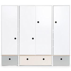 Armoire 4 portes COLORFLEX Abitare Kids façades tiroirs pearl grey-white wash-pearl grey