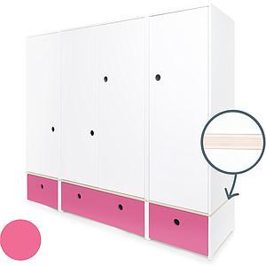Armoire 4 portes COLORFLEX Abitare Kids façades tiroirs pink