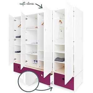 Armoire 4 portes COLORFLEX Abitare Kids façades tiroirs plum