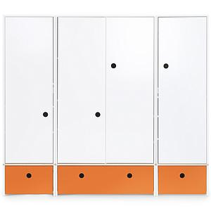 Armoire 4 portes COLORFLEX Abitare Kids façades tiroirs pure orange