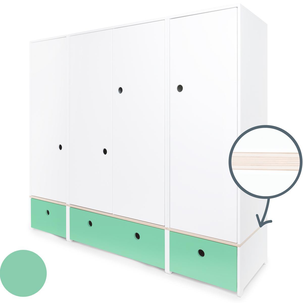 Armoire 4 portes COLORFLEX Abitare Kids façades tiroirs sea foam