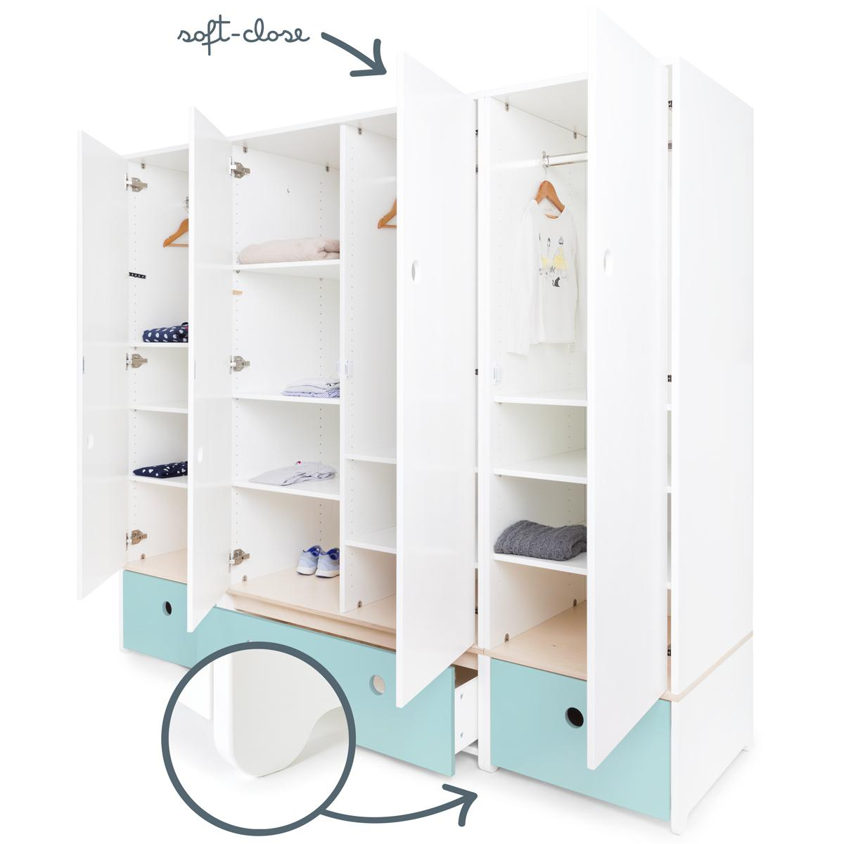 Armoire 4 portes COLORFLEX Abitare Kids façades tiroirs sky blue