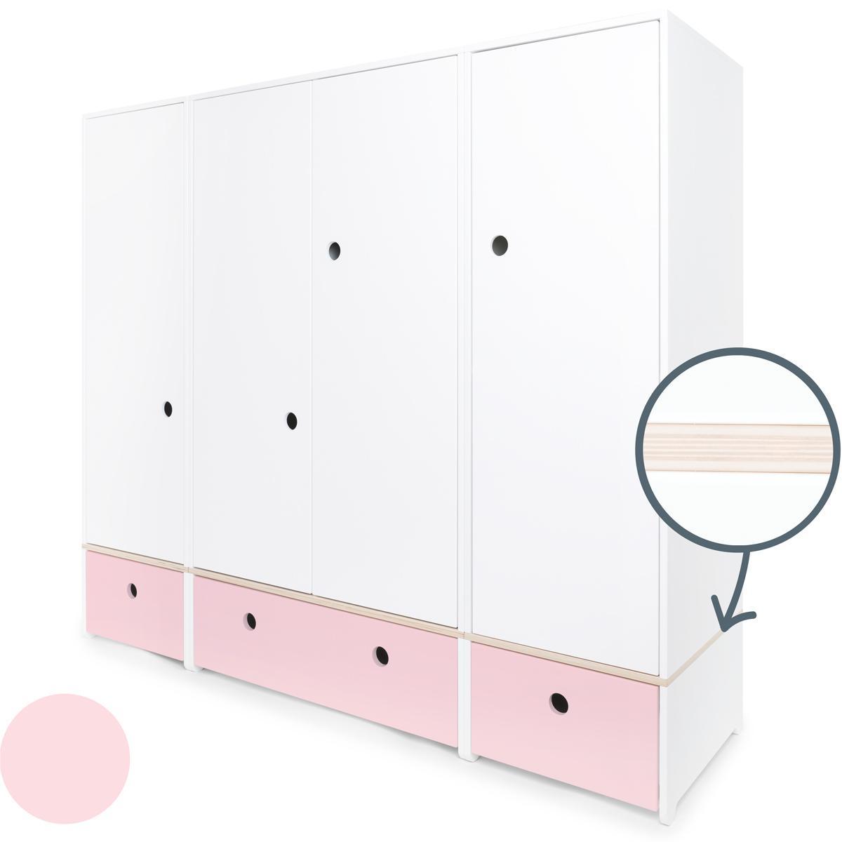 Armoire 4 portes COLORFLEX Abitare Kids façades tiroirs sweet pink