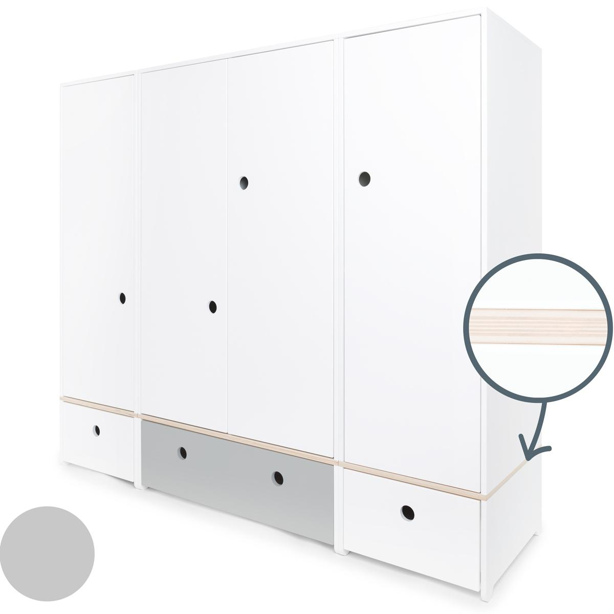 Armoire 4 portes COLORFLEX Abitare Kids façades tiroirs white-pearl grey-white