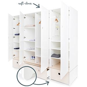 Armoire 4 portes COLORFLEX Abitare Kids façades tiroirs white wash