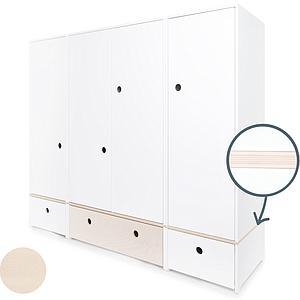 Armoire 4 portes COLORFLEX Abitare Kids façades tiroirs white-white wash-white