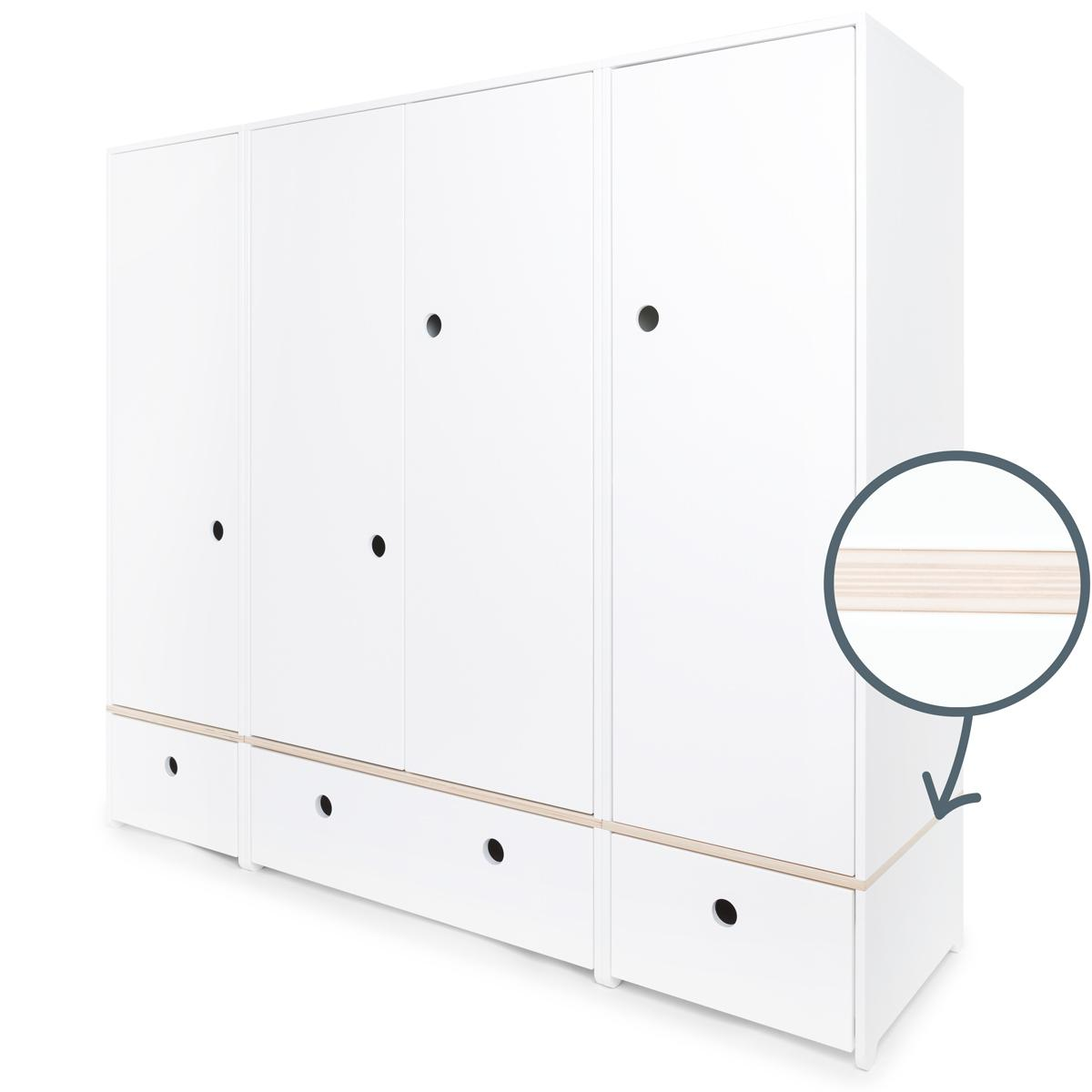 Armoire 4 portes COLORFLEX Abitare Kids façades tiroirs white