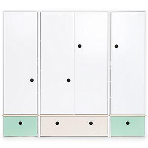 Armoire 4 portes COLORFLEX façades tiroirs mint-white wash-mint