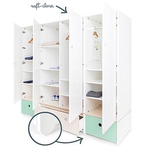 Armoire 4 portes COLORFLEX façades tiroirs mint-white wash-mint