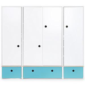 Armoire 4 portes COLORFLEX façades tiroirs paradise blue