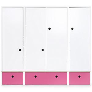 Armoire 4 portes COLORFLEX façades tiroirs pink