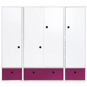 Armoire 4 portes COLORFLEX façades tiroirs plum