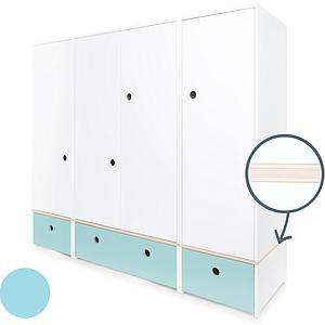 Armoire 4 portes COLORFLEX façades tiroirs sky blue