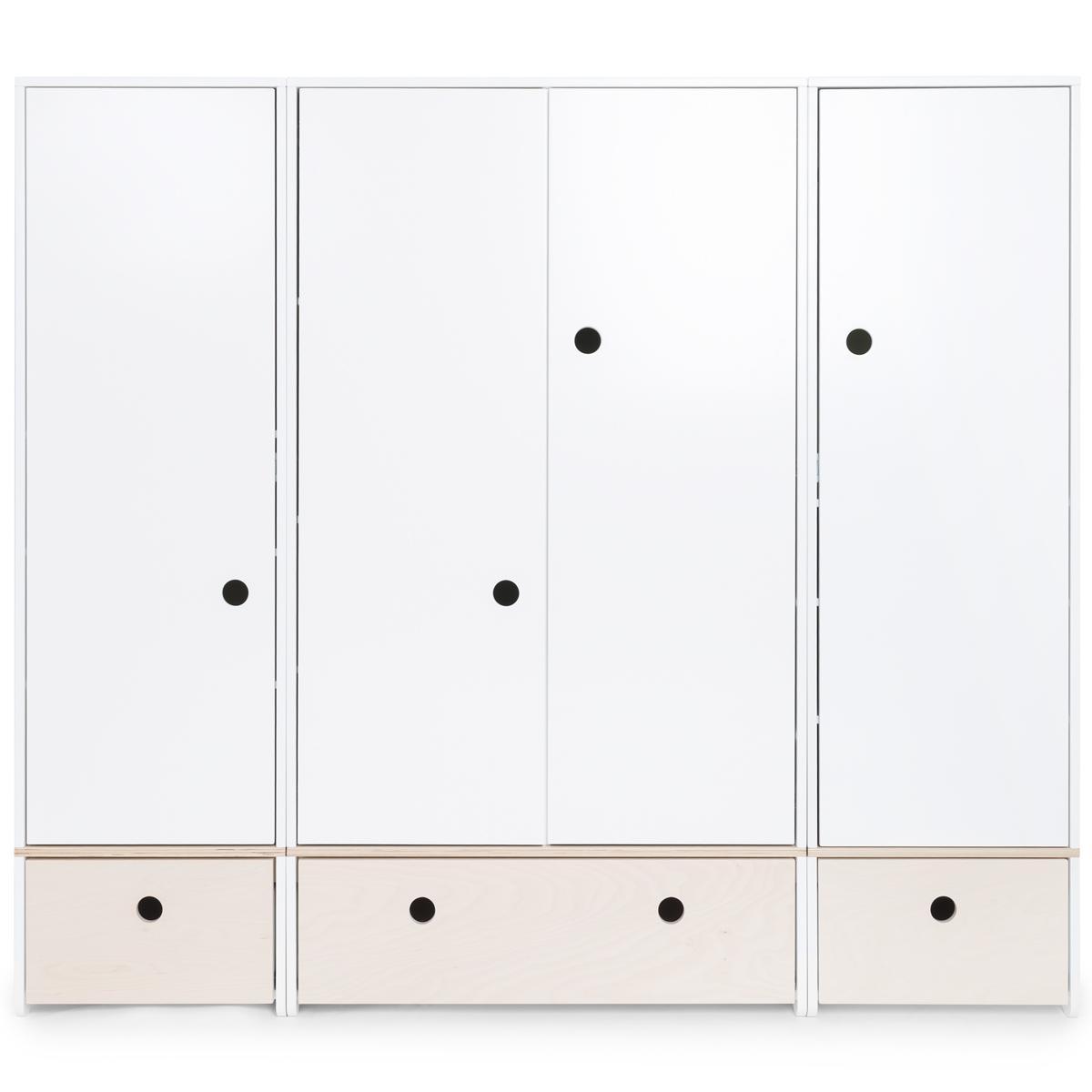 Armoire 4 portes COLORFLEX façades tiroirs white wash