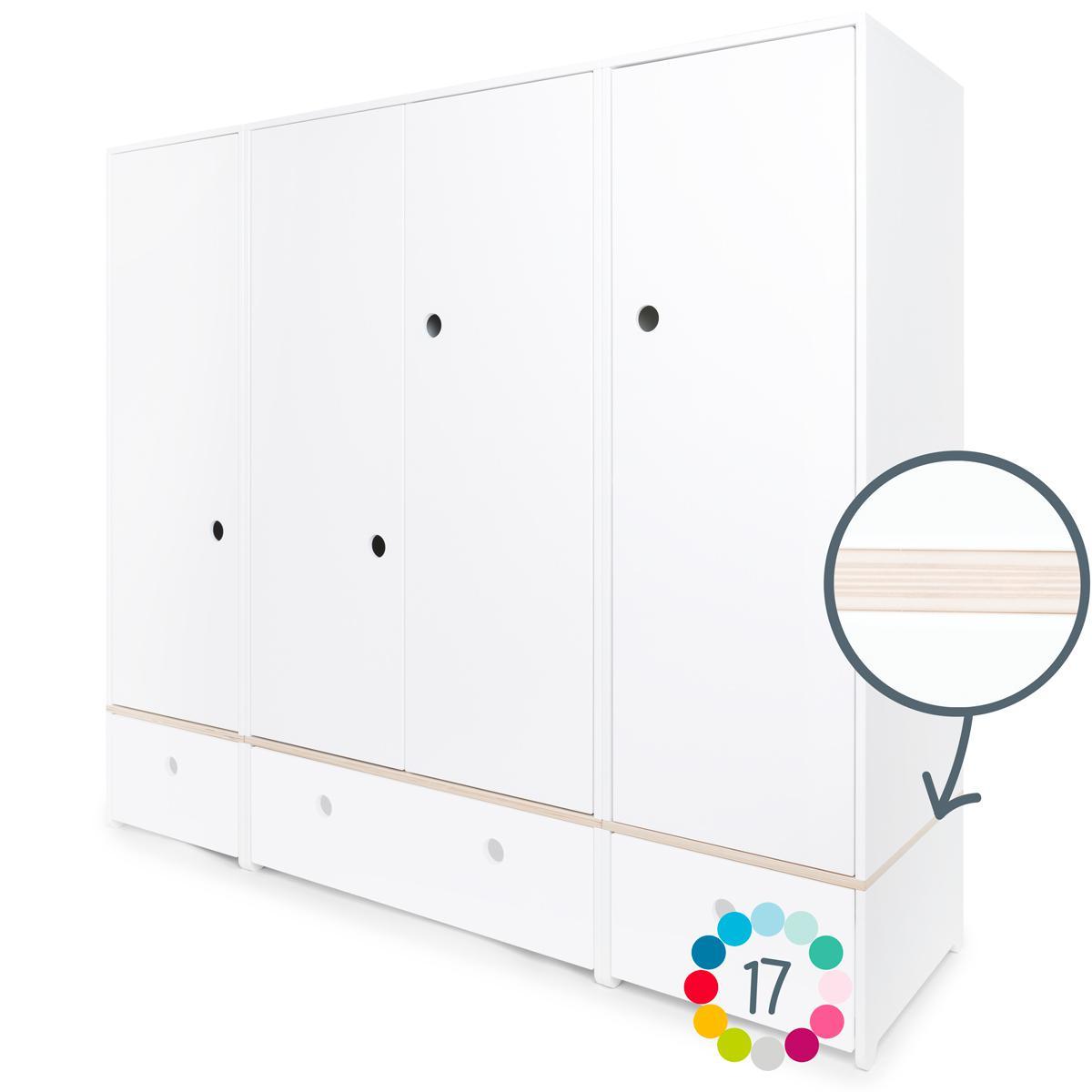 Armoire 4 portes hors façades tiroirs COLORFLEX Abitare Kids