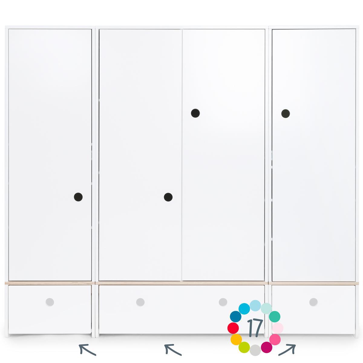 Armoire 4 portes hors façades tiroirs COLORFLEX