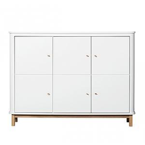 Armoire basse 3 portes WOOD Oliver Furniture blanc-chêne