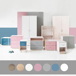 Armoire enfant 2 portes/2tiroirs NEW Classic FLEXA blanchi - blanc - blanc
