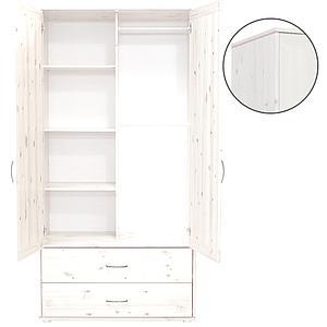 Armoire enfant 2 portes/2tiroirs NEW Classic FLEXA blanchi - blanchi - blanc