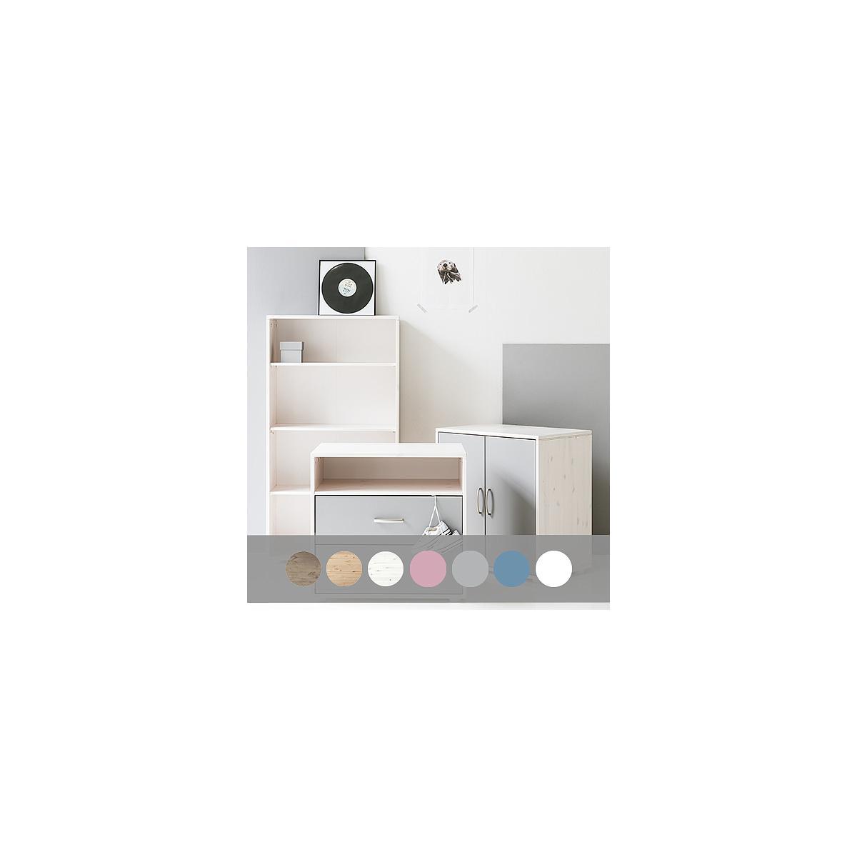 Armoire enfant basse 2 portes NEW Classic FLEXA terra - blanc - blanc
