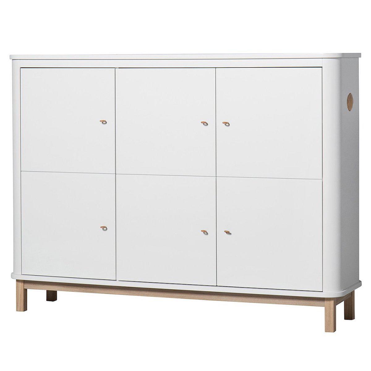 Armoire multi-rangement 3 portes WOOD Oliver Furniture blanc-chêne