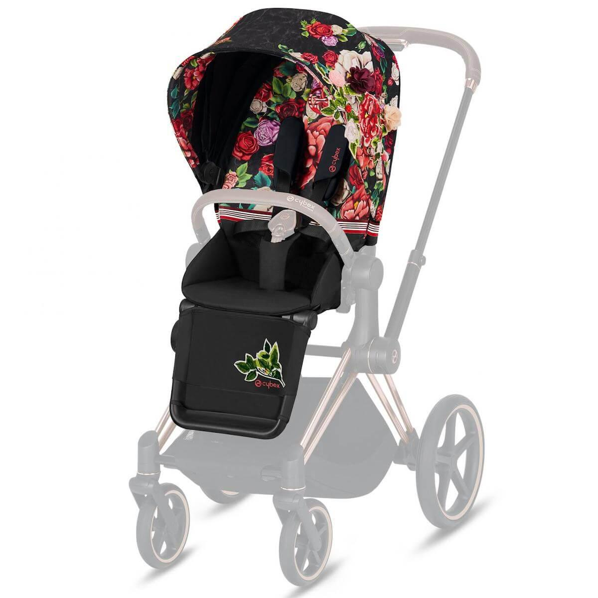 Assise-habillage poussette PRIAM Cybex Spring Blossom Dark-black