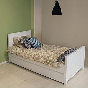 BOBBY by Bopita Lit avec tête de lit haute 90x200cm Blanc